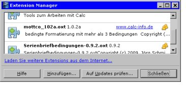 Calc-Extension (mottco) Screenshot im Extension-Manager
